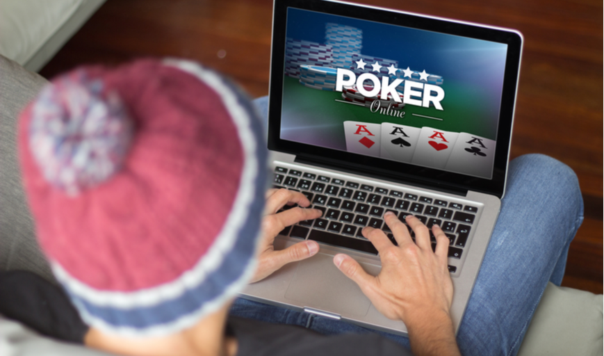 Person playing online poker