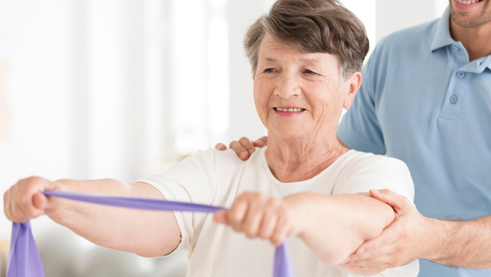 stroke recovery at home woman doing physical therapy