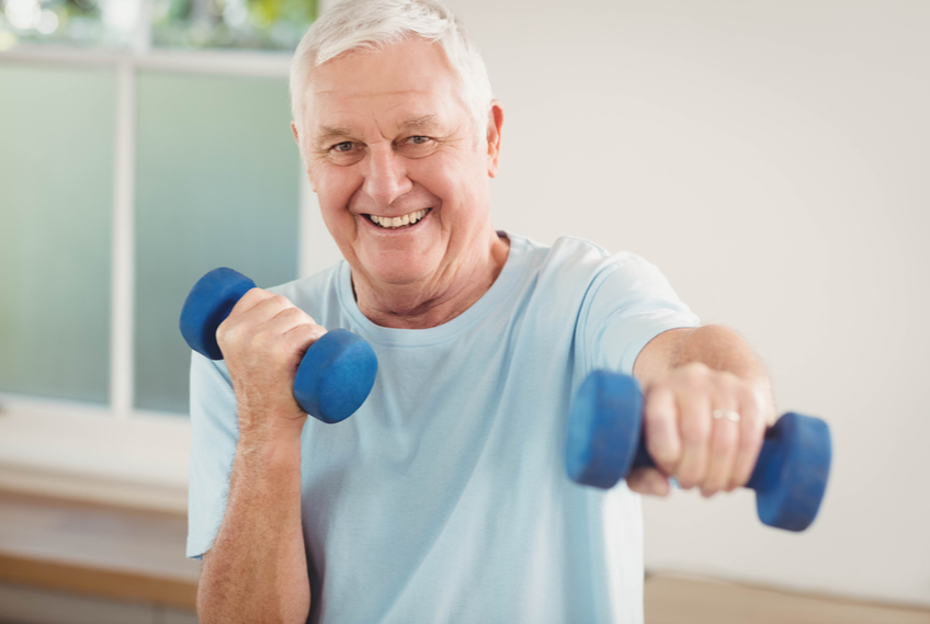 senior man doing weights exercise